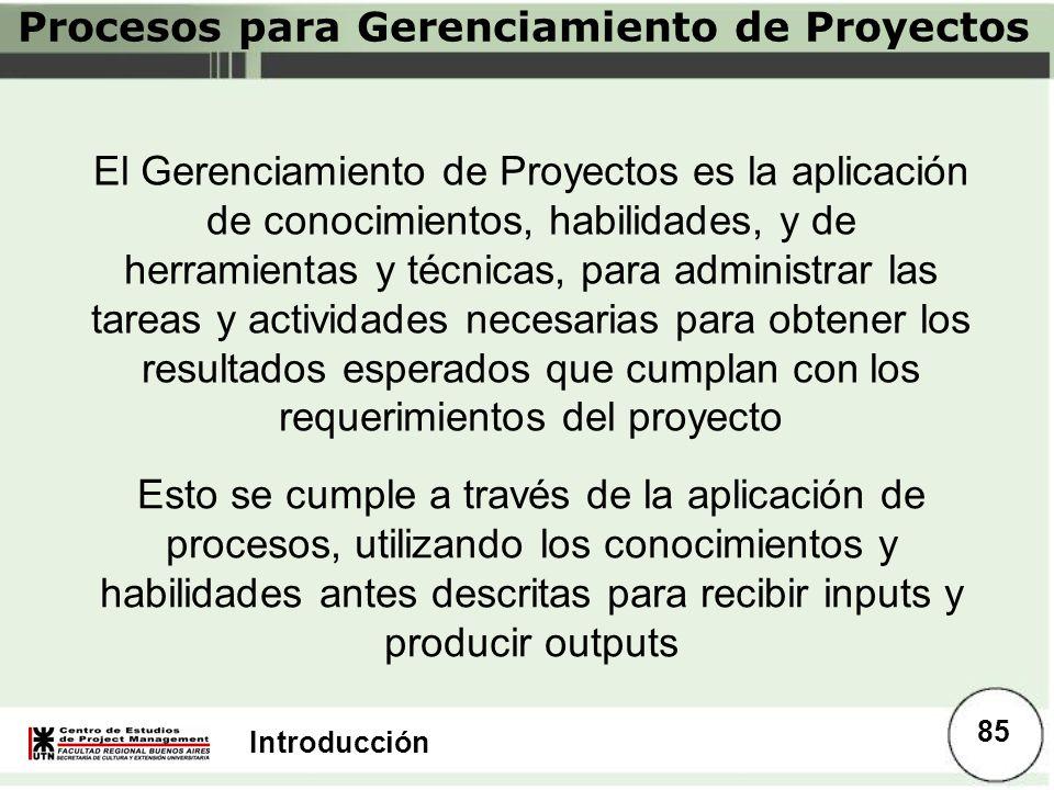 Introducción Procesos para Gerenciamiento de Proyectos Esto se cumple a través de la aplicación de procesos, utilizando los conocimientos y habilidade