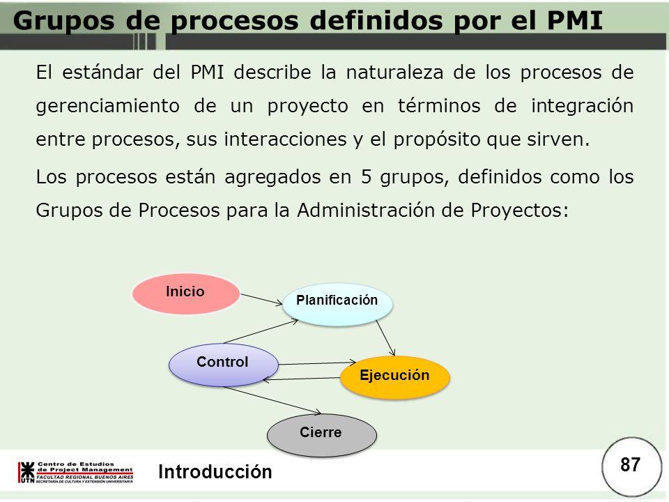 Introducción Grupos de procesos definidos por el PMI El estándar del PMI describe la naturaleza de los procesos de gerenciamiento de un proyecto en té