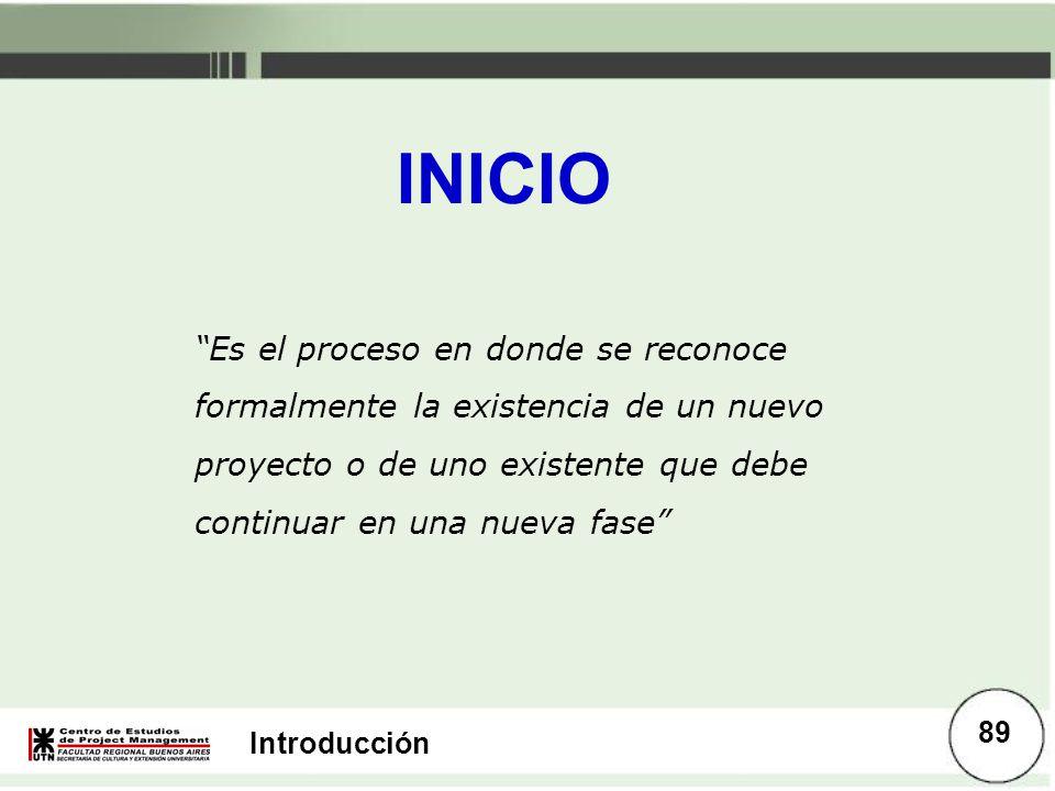 Introducción INICIO Es el proceso en donde se reconoce formalmente la existencia de un nuevo proyecto o de uno existente que debe continuar en una nue