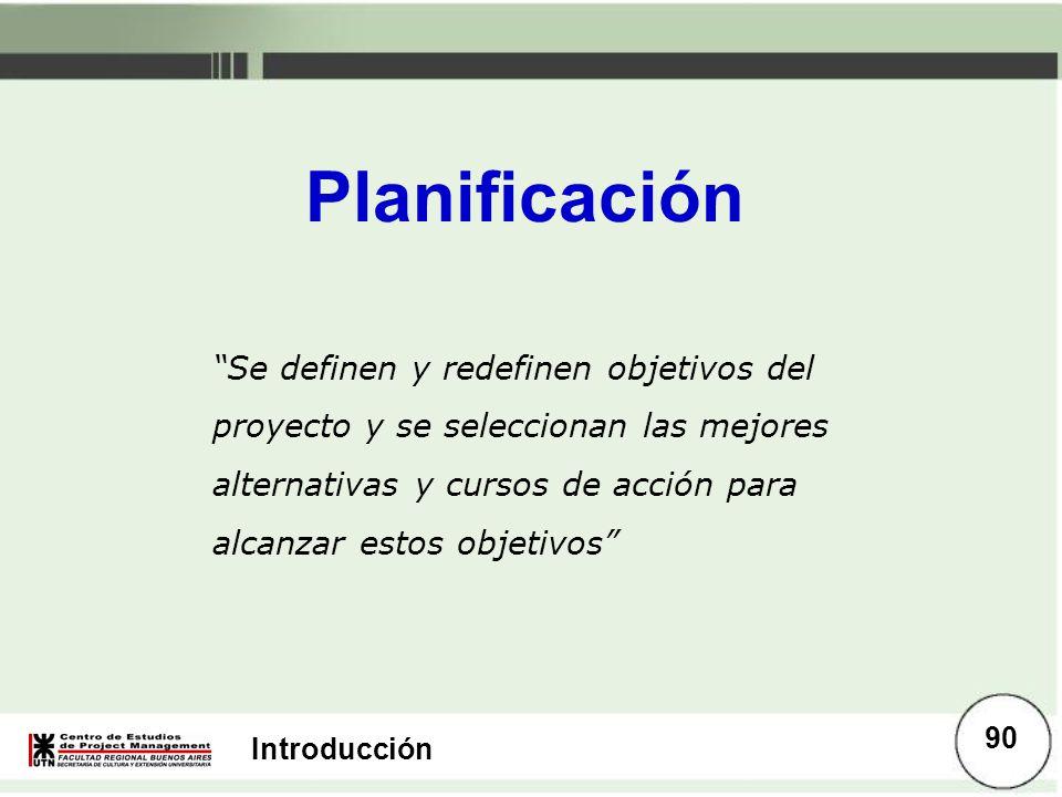 Introducción Planificación Se definen y redefinen objetivos del proyecto y se seleccionan las mejores alternativas y cursos de acción para alcanzar es