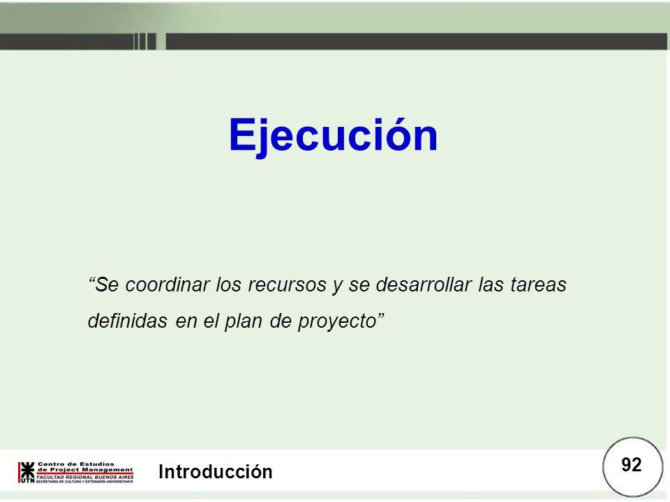 Introducción Ejecución Se coordinar los recursos y se desarrollar las tareas definidas en el plan de proyecto 92