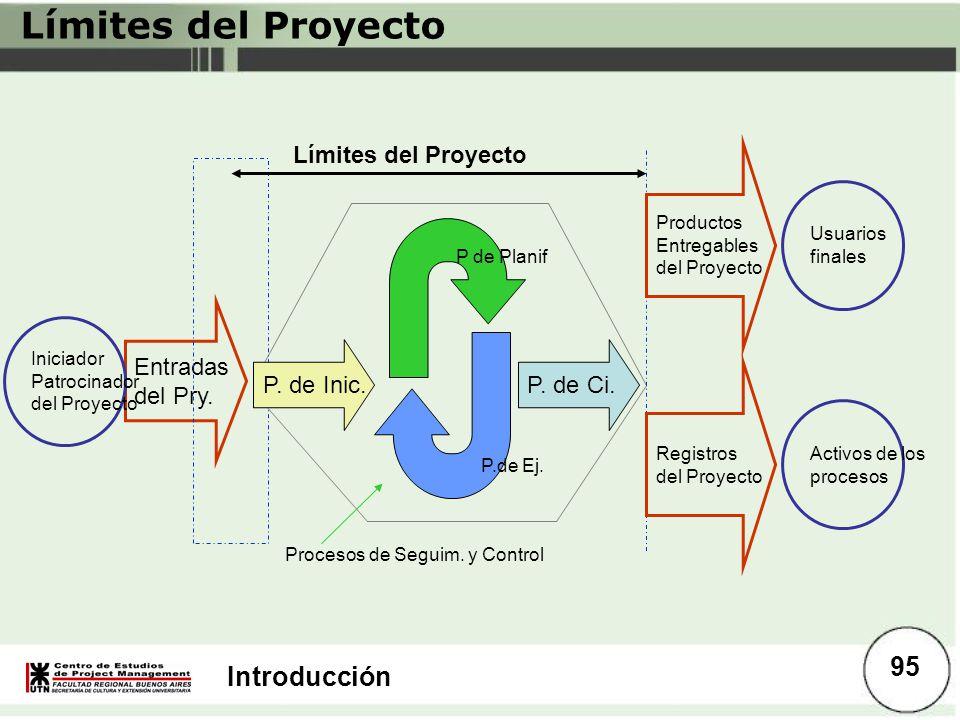 Introducción Límites del Proyecto P de Planif P.de Ej. P. de Ci. Entradas del Pry. Límites del Proyecto Iniciador Patrocinador del Proyecto Procesos d
