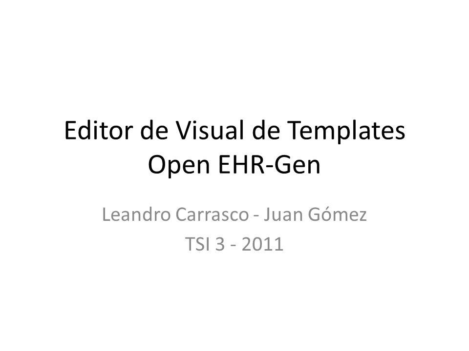 Editor de Visual de Templates Open EHR-Gen Leandro Carrasco - Juan Gómez TSI 3 - 2011