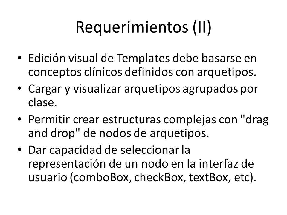 Requerimientos (II) Edición visual de Templates debe basarse en conceptos clínicos definidos con arquetipos. Cargar y visualizar arquetipos agrupados