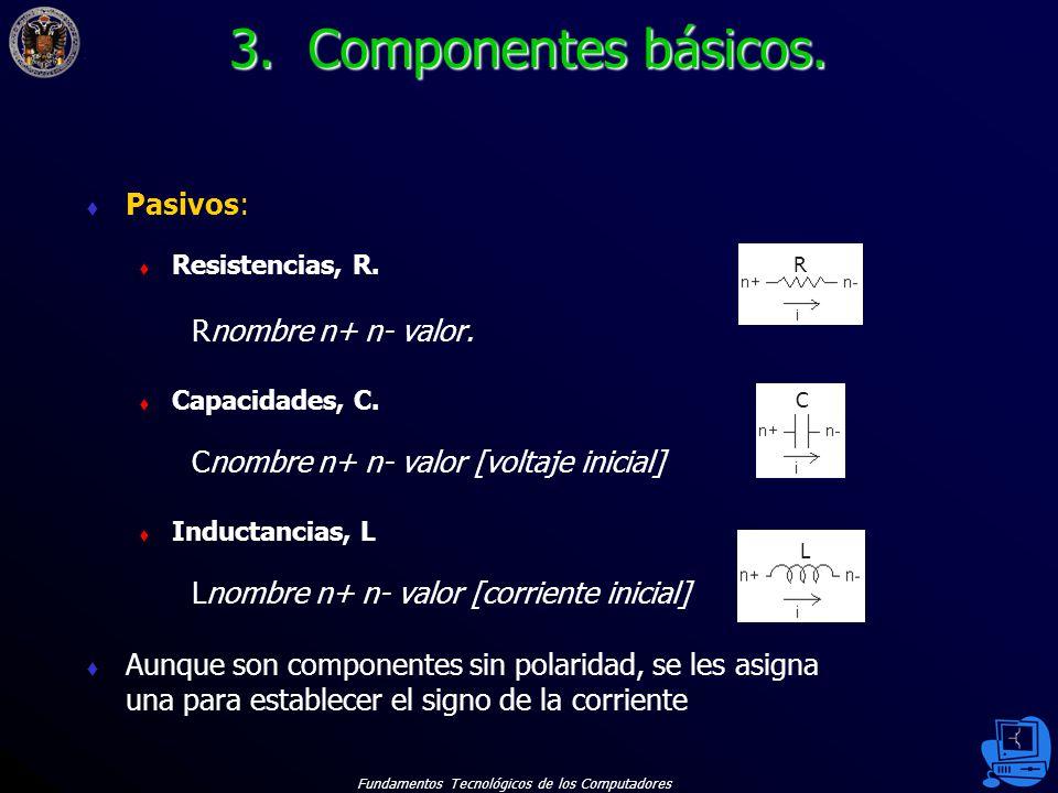 Fundamentos Tecnológicos de los Computadores 12 Pasivos: Resistencias, R.