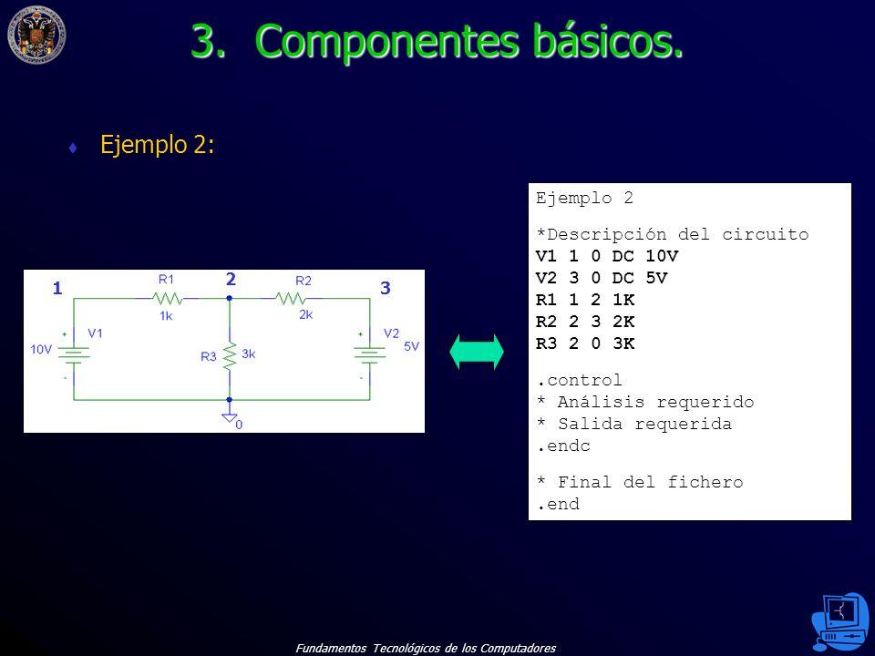 Fundamentos Tecnológicos de los Computadores 15 Ejemplo 2: Ejemplo 2 *Descripción del circuito V1 1 0 DC 10V V2 3 0 DC 5V R1 1 2 1K R2 2 3 2K R3 2 0 3K.control * Análisis requerido * Salida requerida.endc * Final del fichero.end 1 2 3 3.