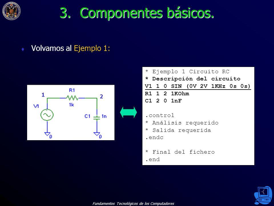 Fundamentos Tecnológicos de los Computadores 17 Volvamos al Ejemplo 1: * Ejemplo 1 Circuito RC * Descripción del circuito V1 1 0 SIN (0V 2V 1KHz 0s 0s) R1 1 2 1KOhm C1 2 0 1nF.control * Análisis requerido * Salida requerida.endc * Final del fichero.end 1 2 3.