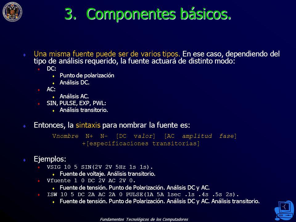 Fundamentos Tecnológicos de los Computadores 22 Una misma fuente puede ser de varios tipos.