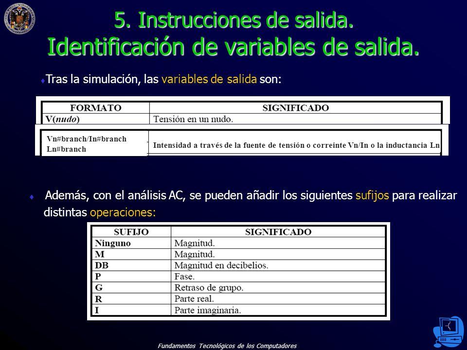 Fundamentos Tecnológicos de los Computadores 35 Además, con el análisis AC, se pueden añadir los siguientes sufijos para realizar distintas operaciones: 5.