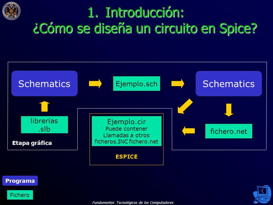 Fundamentos Tecnológicos de los Computadores 6 1.Introducción: ¿Cómo se diseña un circuito en Spice.