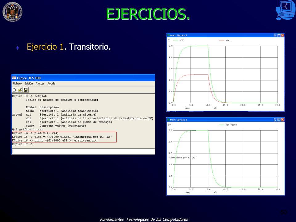 Fundamentos Tecnológicos de los Computadores 60 EJERCICIOS. Ejercicio 1. Transitorio.