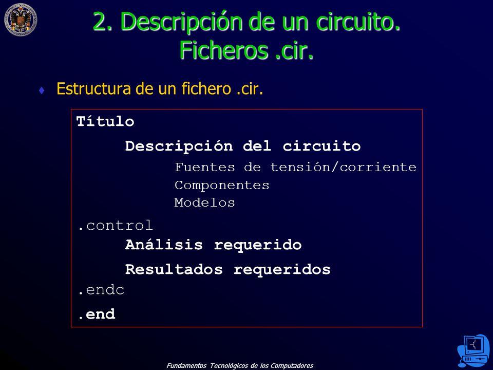 Fundamentos Tecnológicos de los Computadores 39 Para el circuito del ejemplo 2, crear un fichero.cir que calcule su punto de operación.