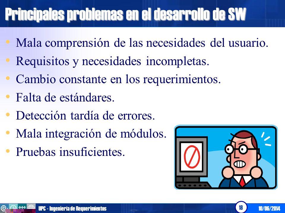 10/06/2014UPC - Ingeniería de Requerimientos 18 Principales problemas en el desarrollo de SW Mala comprensión de las necesidades del usuario. Requisit