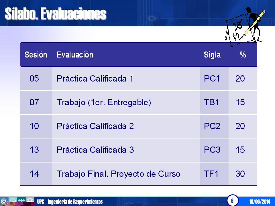 10/06/2014UPC - Ingeniería de Requerimientos 6 Sílabo. Evaluaciones