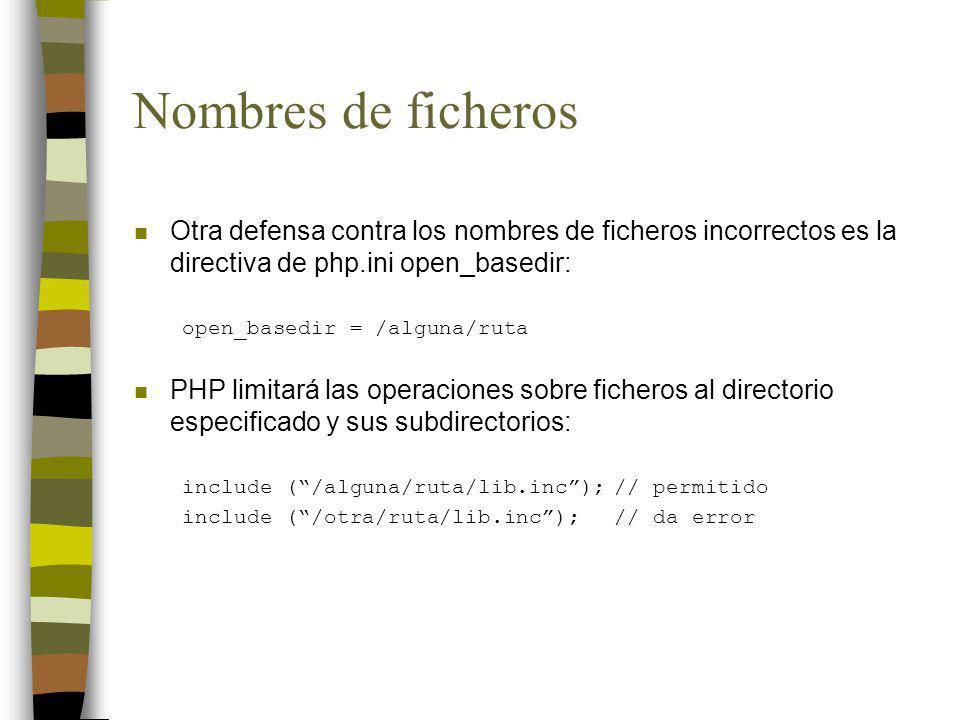 Nombres de ficheros n Otra defensa contra los nombres de ficheros incorrectos es la directiva de php.ini open_basedir: open_basedir = /alguna/ruta n P