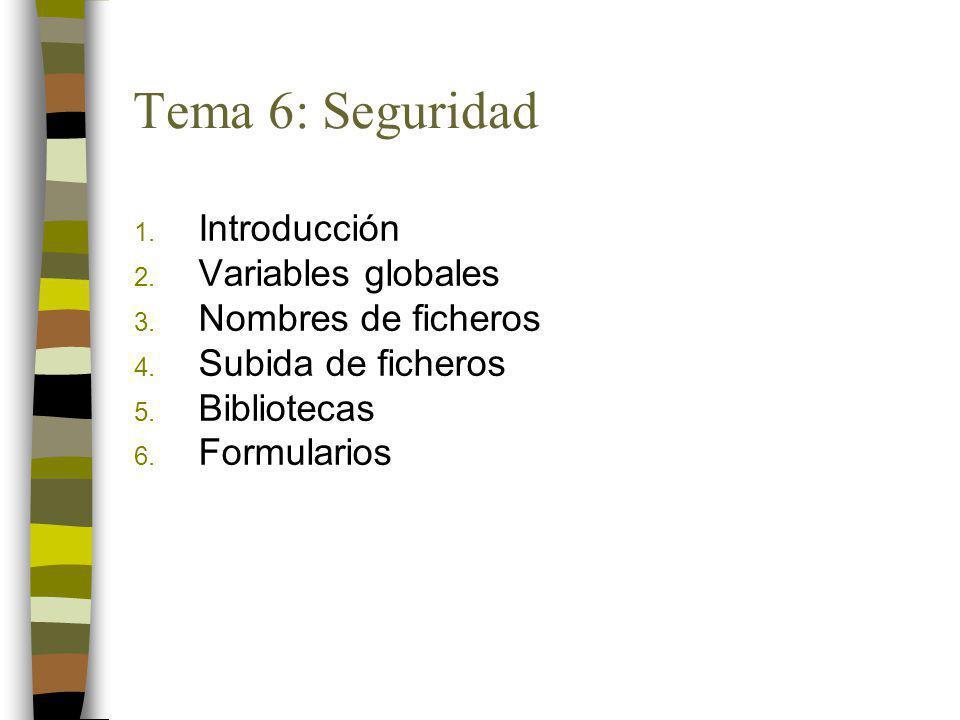 1. Introducción 2. Variables globales 3. Nombres de ficheros 4. Subida de ficheros 5. Bibliotecas 6. Formularios