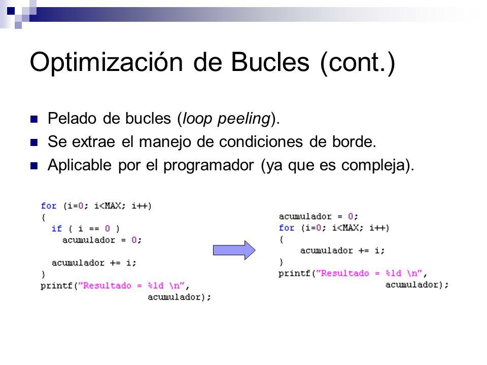 Optimización de Bucles (cont.) Pelado de bucles (loop peeling). Se extrae el manejo de condiciones de borde. Aplicable por el programador (ya que es c