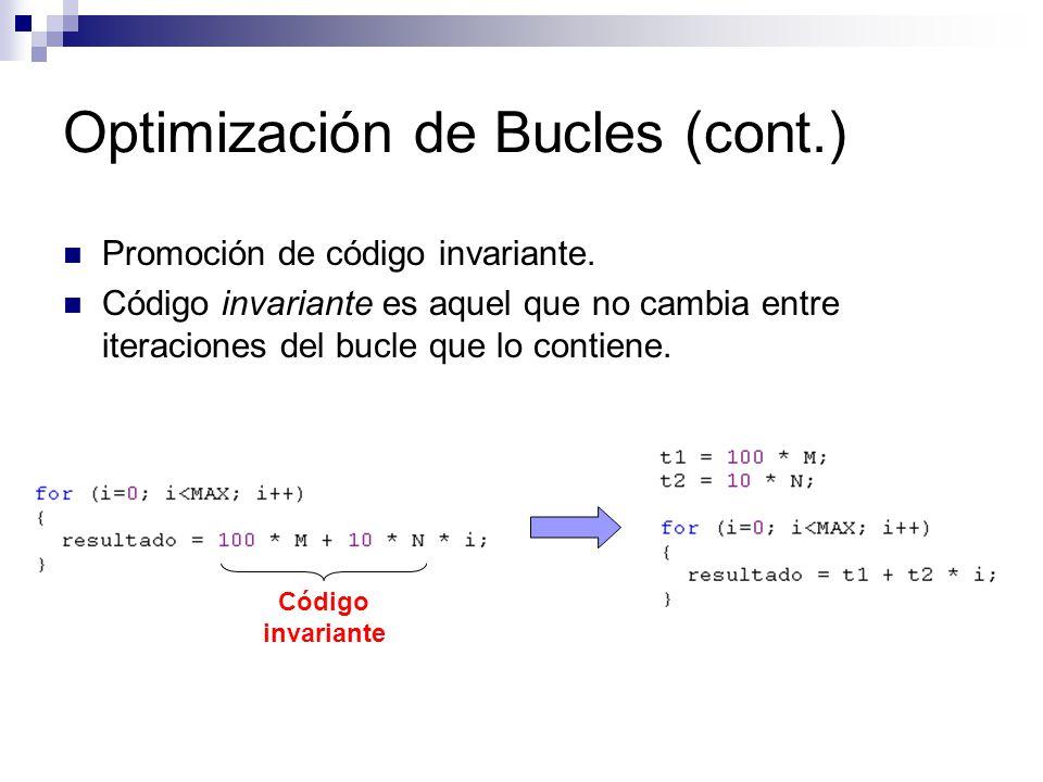 Optimización de Bucles (cont.) Promoción de código invariante. Código invariante es aquel que no cambia entre iteraciones del bucle que lo contiene. C