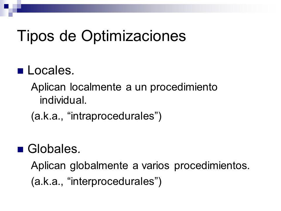 Locales. Aplican localmente a un procedimiento individual. (a.k.a., intraprocedurales) Globales. Aplican globalmente a varios procedimientos. (a.k.a.,
