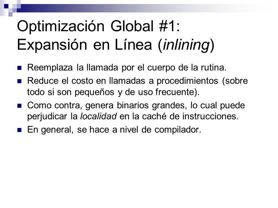 Optimización Global #1: Expansión en Línea (inlining) Reemplaza la llamada por el cuerpo de la rutina. Reduce el costo en llamadas a procedimientos (s