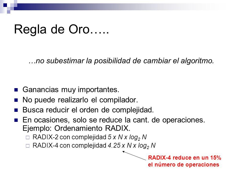 Regla de Oro….. Ganancias muy importantes. No puede realizarlo el compilador. Busca reducir el orden de complejidad. En ocasiones, solo se reduce la c