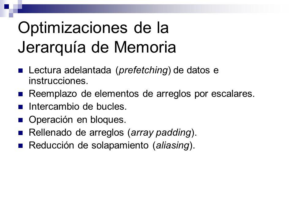 Optimizaciones de la Jerarquía de Memoria Lectura adelantada (prefetching) de datos e instrucciones. Reemplazo de elementos de arreglos por escalares.