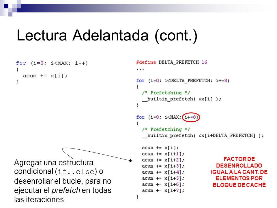 Lectura Adelantada (cont.) Agregar una estructura condicional ( if..else ) o desenrollar el bucle, para no ejecutar el prefetch en todas las iteracion