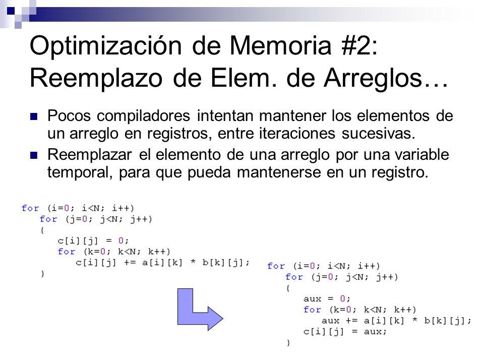 Optimización de Memoria #2: Reemplazo de Elem. de Arreglos… Pocos compiladores intentan mantener los elementos de un arreglo en registros, entre itera
