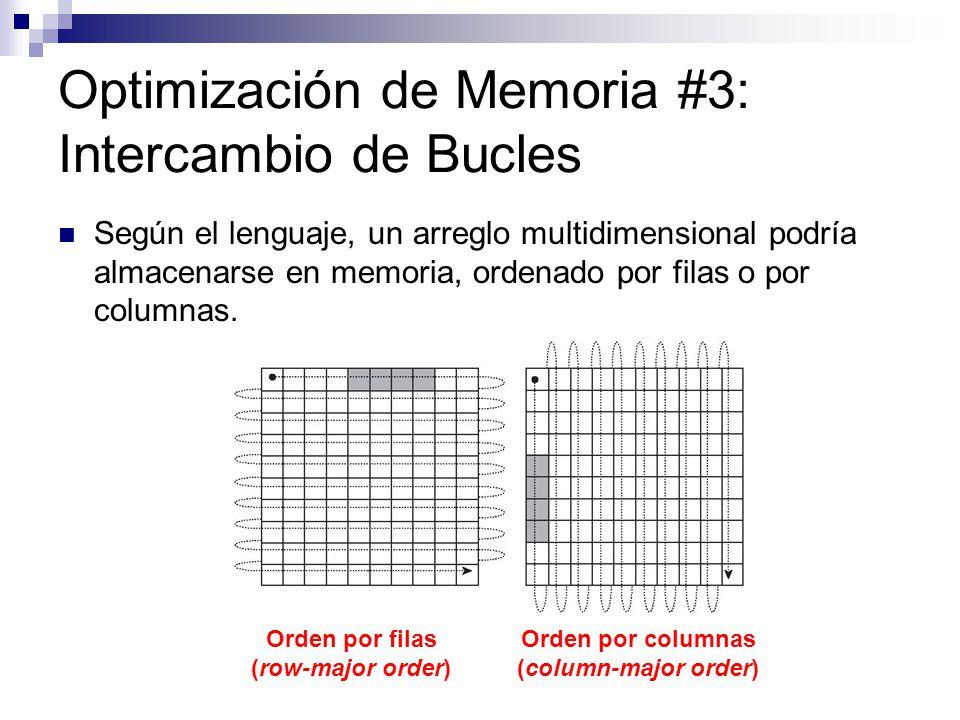 Optimización de Memoria #3: Intercambio de Bucles Según el lenguaje, un arreglo multidimensional podría almacenarse en memoria, ordenado por filas o p