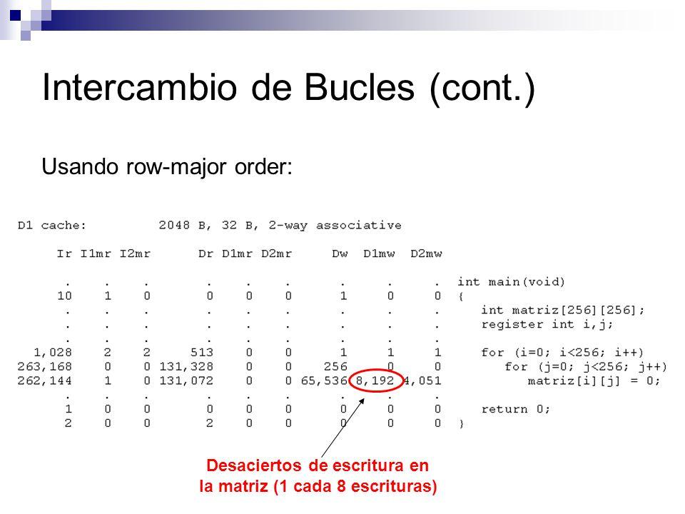 Intercambio de Bucles (cont.) Usando row-major order: Desaciertos de escritura en la matriz (1 cada 8 escrituras)