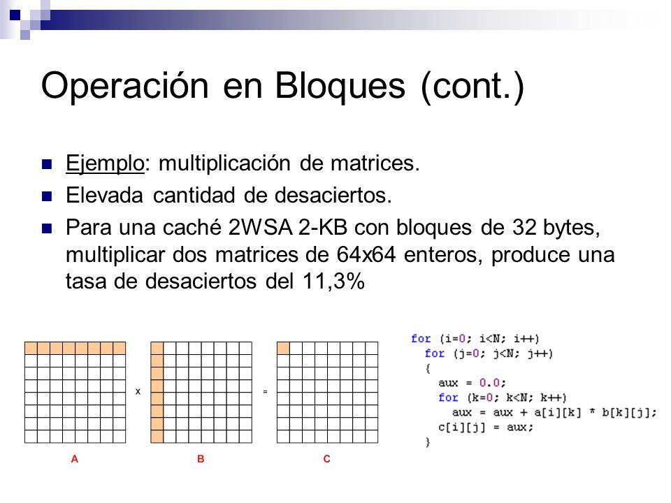 Operación en Bloques (cont.) Ejemplo: multiplicación de matrices. Elevada cantidad de desaciertos. Para una caché 2WSA 2-KB con bloques de 32 bytes, m
