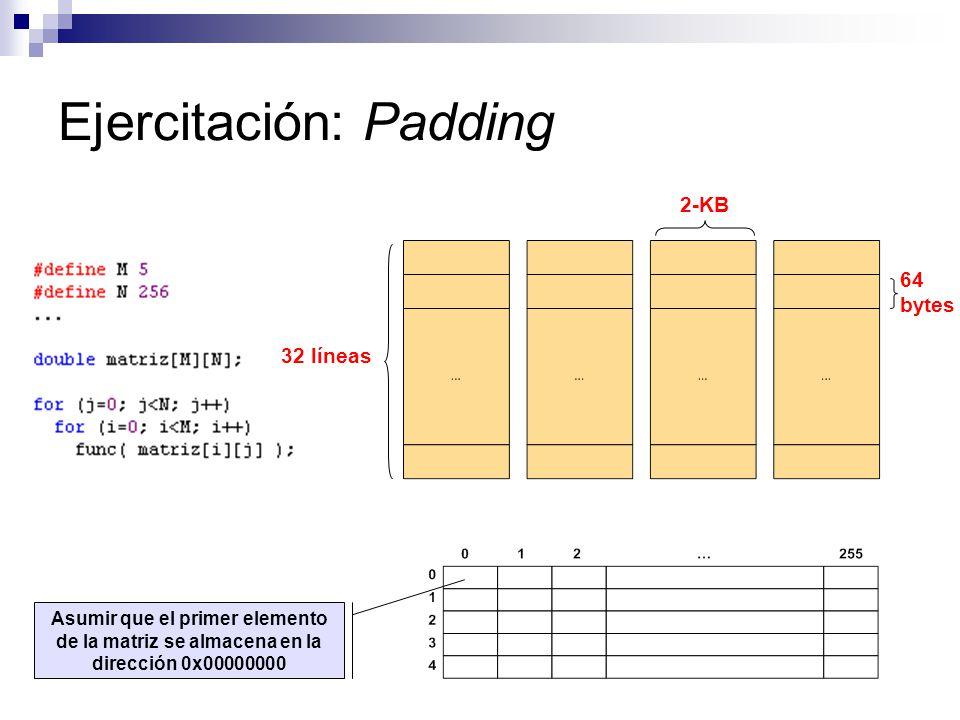 Ejercitación: Padding 32 líneas 64 bytes 2-KB Asumir que el primer elemento de la matriz se almacena en la dirección 0x00000000