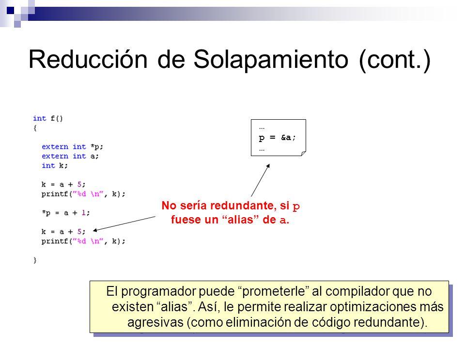 Reducción de Solapamiento (cont.) No sería redundante, si p fuese un alias de a. … p = &a; … El programador puede prometerle al compilador que no exis