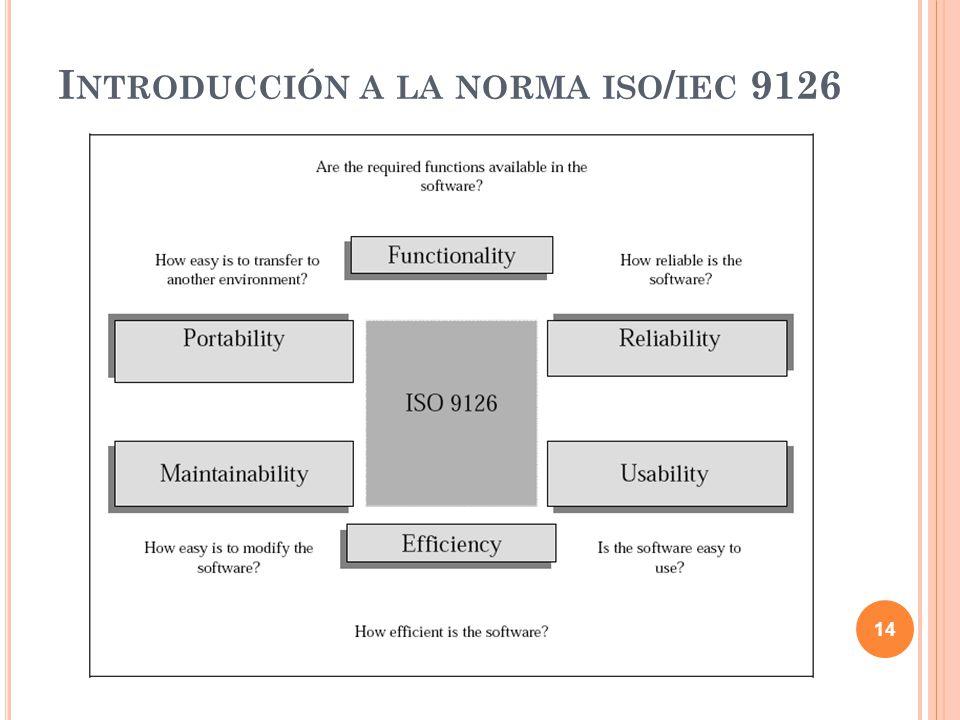 14 I NTRODUCCIÓN A LA NORMA ISO / IEC 9126