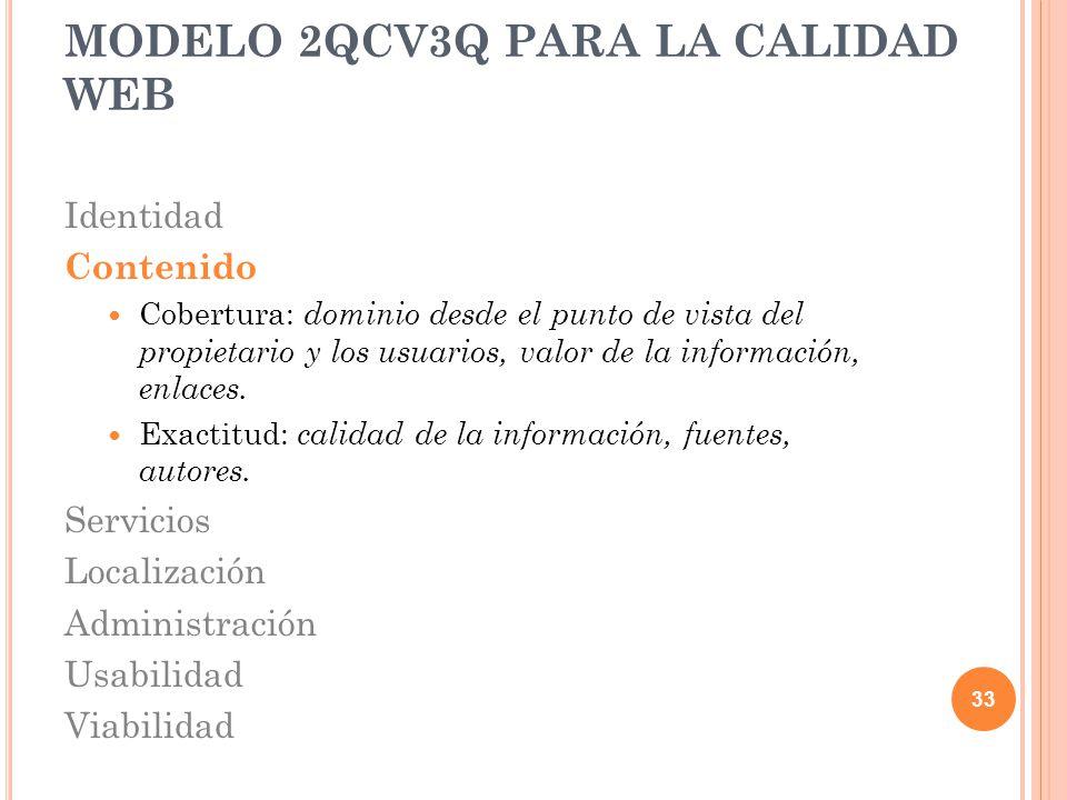 Identidad Contenido Cobertura: dominio desde el punto de vista del propietario y los usuarios, valor de la información, enlaces. Exactitud: calidad de