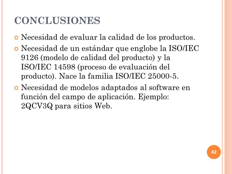 CONCLUSIONES Necesidad de evaluar la calidad de los productos. Necesidad de un estándar que englobe la ISO/IEC 9126 (modelo de calidad del producto) y
