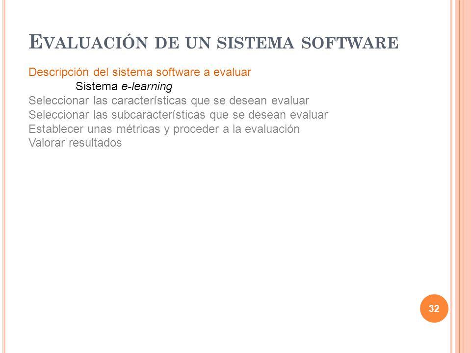 Descripción del sistema software a evaluar Sistema e-learning Seleccionar las características que se desean evaluar Seleccionar las subcaracterísticas