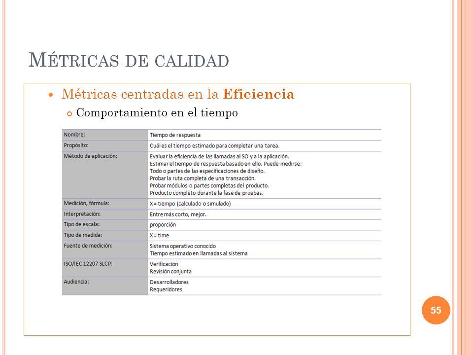 M ÉTRICAS DE CALIDAD Métricas centradas en la Eficiencia Comportamiento en el tiempo 55