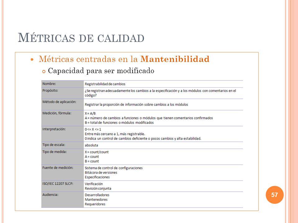 M ÉTRICAS DE CALIDAD Métricas centradas en la Mantenibilidad Capacidad para ser modificado 57