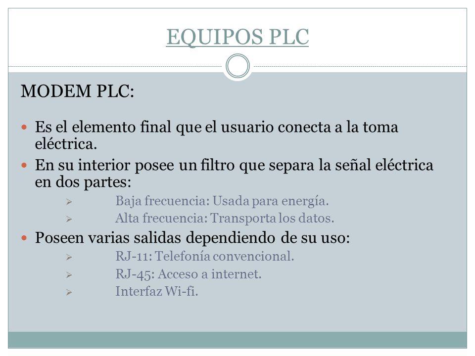 EQUIPOS PLC MODEM PLC: Es el elemento final que el usuario conecta a la toma eléctrica. En su interior posee un filtro que separa la señal eléctrica e