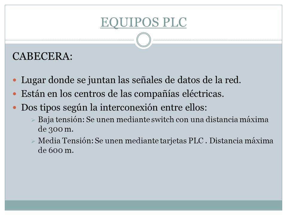 EQUIPOS PLC CABECERA: Lugar donde se juntan las señales de datos de la red. Están en los centros de las compañías eléctricas. Dos tipos según la inter