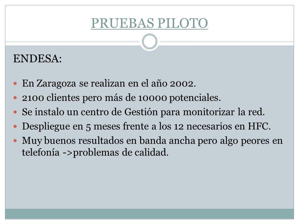 PRUEBAS PILOTO ENDESA: En Zaragoza se realizan en el año 2002. 2100 clientes pero más de 10000 potenciales. Se instalo un centro de Gestión para monit