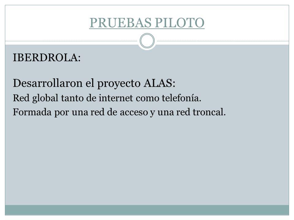 PRUEBAS PILOTO IBERDROLA: Desarrollaron el proyecto ALAS: Red global tanto de internet como telefonía. Formada por una red de acceso y una red troncal