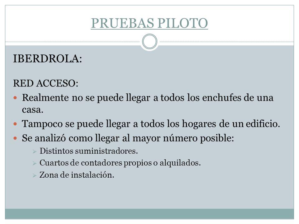 PRUEBAS PILOTO IBERDROLA: RED ACCESO: Realmente no se puede llegar a todos los enchufes de una casa. Tampoco se puede llegar a todos los hogares de un