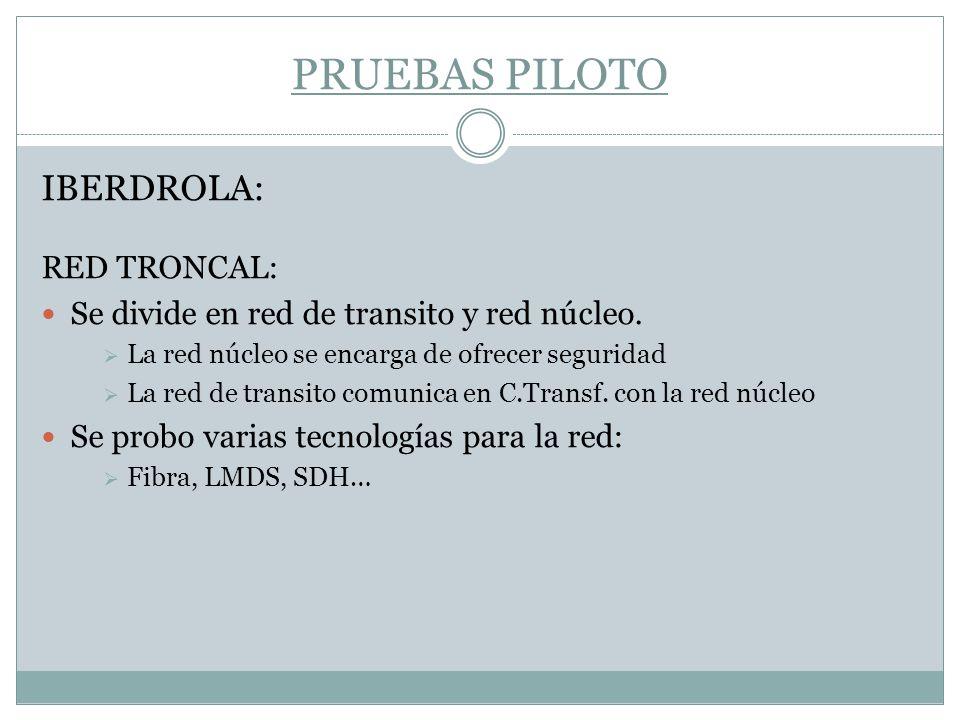 PRUEBAS PILOTO IBERDROLA: RED TRONCAL: Se divide en red de transito y red núcleo. La red núcleo se encarga de ofrecer seguridad La red de transito com