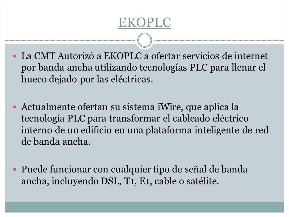 EKOPLC La CMT Autorizó a EKOPLC a ofertar servicios de internet por banda ancha utilizando tecnologías PLC para llenar el hueco dejado por las eléctri