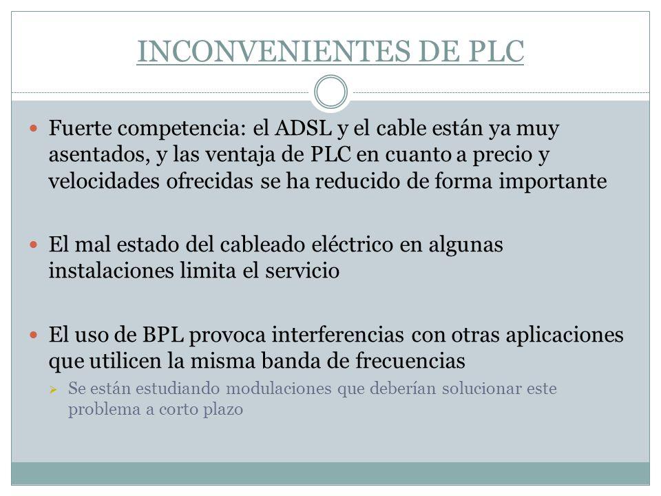 INCONVENIENTES DE PLC Fuerte competencia: el ADSL y el cable están ya muy asentados, y las ventaja de PLC en cuanto a precio y velocidades ofrecidas s