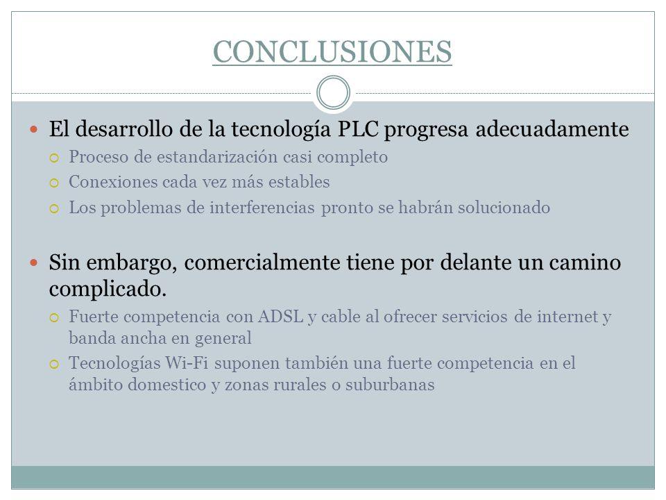 CONCLUSIONES El desarrollo de la tecnología PLC progresa adecuadamente Proceso de estandarización casi completo Conexiones cada vez más estables Los p