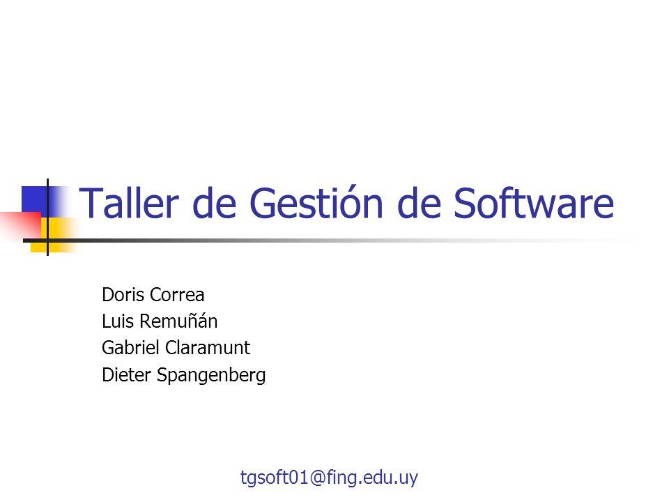 tgsoft01@fing.edu.uy Taller de Gestión de Software Doris Correa Luis Remuñán Gabriel Claramunt Dieter Spangenberg