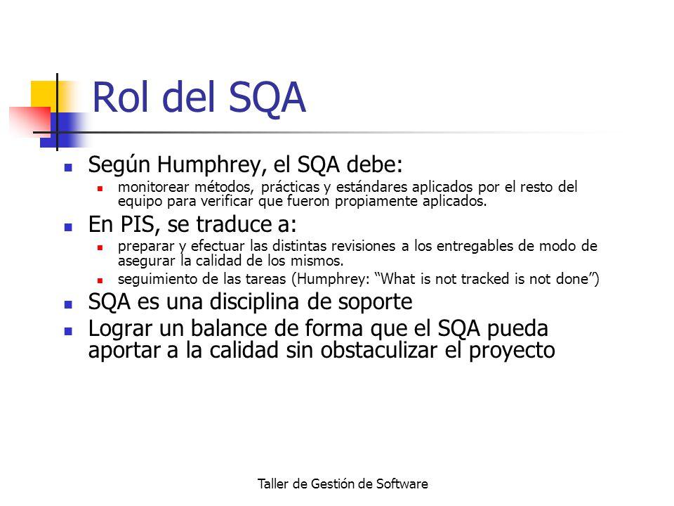 Taller de Gestión de Software Rol del SQA Según Humphrey, el SQA debe: monitorear métodos, prácticas y estándares aplicados por el resto del equipo pa